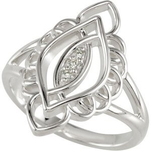 Genuine IceCarats Designer Jewelry Gift Sterling Silver Diamond Ring. Size 7.00 Diamond Ring In Sterling Silver Size 7.00