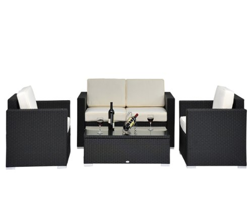 4 Pieces Outdoor Rattan Sofa Sectional Patio Garden Furniture Wicker Chair