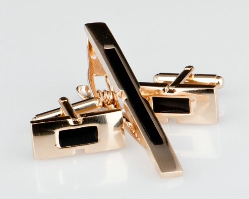 Lodestar Golden Nebula Black Buckle-Style Cufflink & Tieclip Set with Gift Box (B-32)