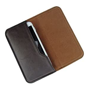 i-KitPit : PU Leather Flip Pouch Case Cover For Lava iris 458Q (BROWN)