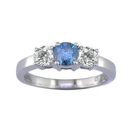 1/2 CT 3 Stone Blue & White Diamond Ring 14K White Gold (Available In Sizes J - T)