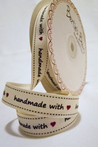 Bertie's Bows Grosgrain Ribbon 'Handmade with Love' 16mm on a 3m roll by Bertie's Bows Ribbon