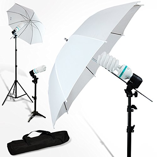 IvationStudio 600W Photography Photo Video White Umbrella Continuous Triple Lighting Kit with Case