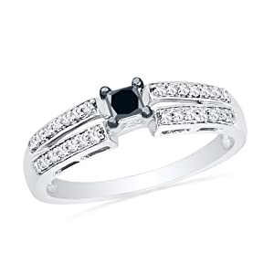 Sterling Silver Princess Round Diamond Black and White Promise Ring (1/4CTTW)