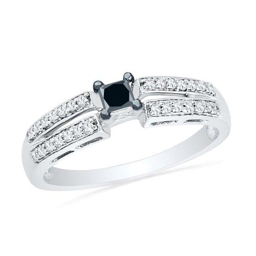 Carbonado ♦♦♦ Sterling Silver Princess Round Diamond Black and White Promis