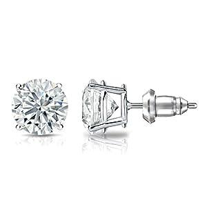 IGI Certified 14k White Gold 4-Prong Basket Round Diamond Stud Earrings (1 3/4 ct, G-H, VS2-SI1)