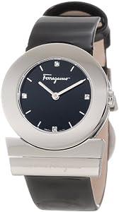 Salvatore Ferragamo Women's F56SBQ9909S S009 Gancino Diamond Black Patent Band Logo Watch by Salvatore Ferragamo