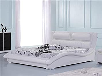 Modern Italian Designer Bed Double Upholstered in Faux Leather, 4ft6 Port Louis White
