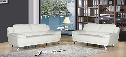 AC Pacific Dan Collection Modern 2-Piece Upholstered Leather Living Room Set with Sofa and Loveseat, Ivory