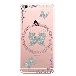 Hamee Designer Case from Japan Thin Fit Crystal Clear Transparent Protective Plastic Hard Cover for iPhone 6 Plus / 6s Plus (Butterflies and Flowers)