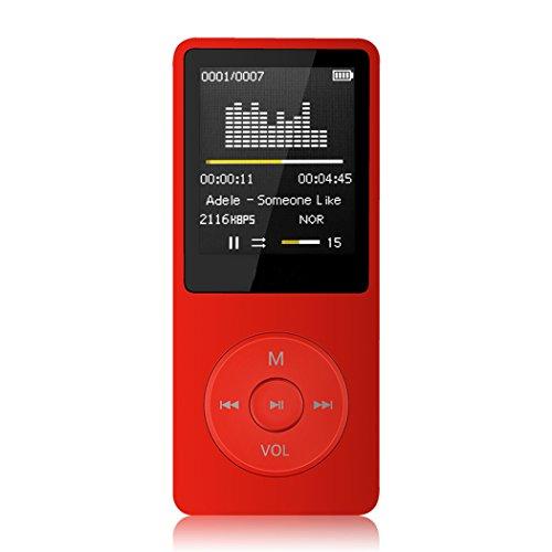 """Tabmart M01 IL lettore MP3 8 GB schermo 1,8"""" con Radio e registratore, Il tempo di riproduzione è fino a 70 ore, Rosso"""