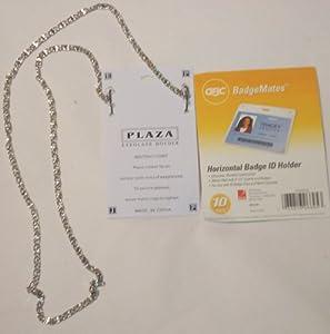 Genuine Silver Plated Medium Chain Eye Glass Horizontal ID Badge Holder Necklace