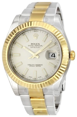 Rolex Datejust II Ivory Index Dial 18k Yellow Gold Bezel Oyster Bracelet Mens Watch 116333ISO