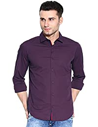 Zavlin Purple Cotton Slim Fit Casual Shirt