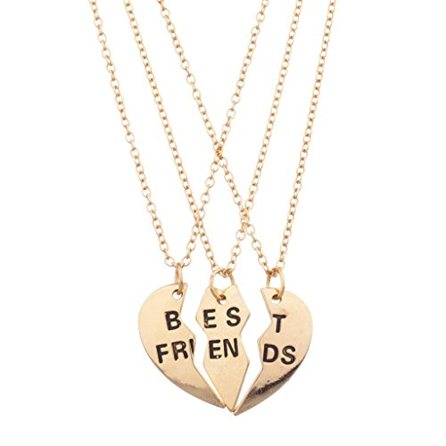 Lux Accessories Goldtone Engraved Best Friend Broken Heart Valentine BFF Shaped Charm Pendant Necklace Shared Amongst Three Of Your Closest Friends (Pearl Necklace Display Case compare prices)