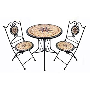 marvell 39 s 74 x 70cm sandstone star mosaic bistro table