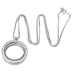 Living Memory Floating Charm Round Glass Locket Silver Pendant and Necklaces 20\
