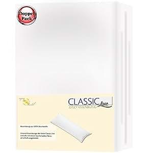 Seitenschläferkissen Stillkissen Bezug 145x40 Baumwolle Jersey Doppelpack Classic Line weiß