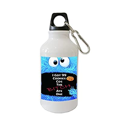 Muppet Cookie Monster Bitch Jayz Customize Aluminum Alloy 400ml Water Bottle Sport drink Bottle white
