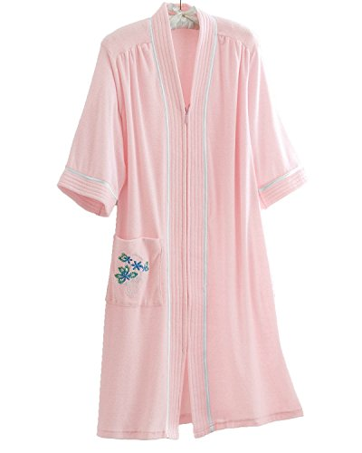 National Soft Knit Terry Lounger, Pink, 1X - Misses, Womens (Womens Plus Size Robes)