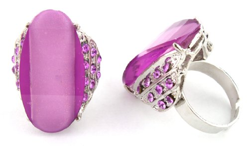 Ladies Purple Curved Shape Glittered Center with Surrounding Stones Metal Adjustable Finger Ring