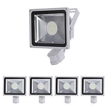 5 pcs projecteur projecteur smd led 50w spot lampe avec d tecteur de de mouvement en blanc. Black Bedroom Furniture Sets. Home Design Ideas