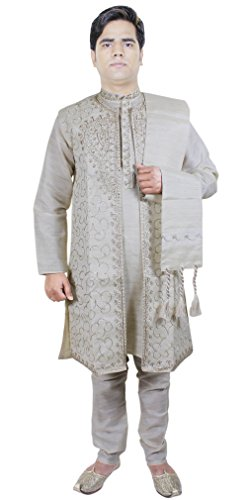 4-Piece-Sherwani-Kurta-Pajama-hommes-Stole-Set-for-anniversaire-Offwhite
