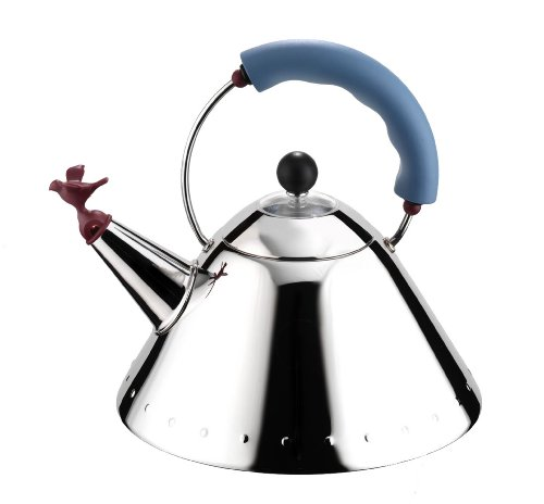 Alessi Hob Kettle, Blue Trim, Burgundy Bird Whistle, (9093)