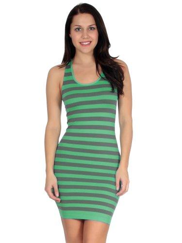 Simplicity Women Striped Summer Mini Tank Dress, Mint