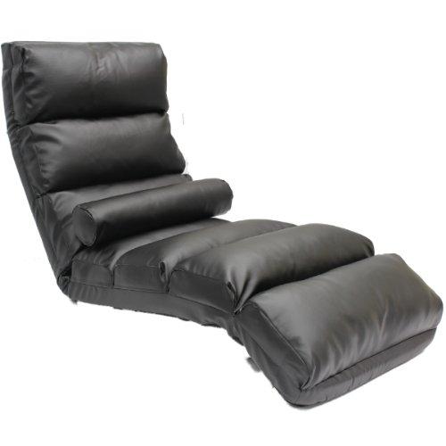 ADJUSTABLE FOLDING BLACK FLOOR LOUNGER/CHAISE LONGUE FAUX LEATHER LOUNGE ARMCHAIR SEAT/CHAIR