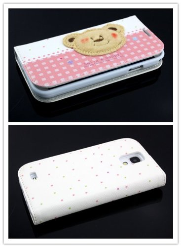 Big Dragonfly New Arrivals Eco Skin Cute 3D Pattern Folio Pu Leather Case With Cover For Samsung Galaxy S4 I9500 With Built-In Stand, Card Slots And Two Tiny Suction Cups Retail Package(Brown Bear Smile & Happy)White & Pale Red front-723187