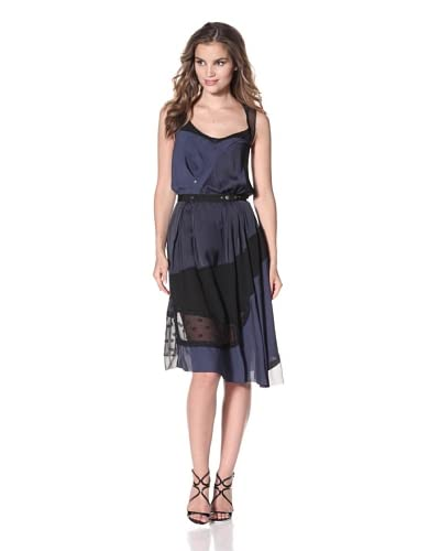 Nina Ricci Women's Patchwork Dress with Snap Detail  [Navy/Black]