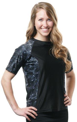 Aqua Design Women's Big Wave Rash Guard UPF 50+ Comfort Fit Swim Rashie Shirt (Black / Black Water, XXX-Large)