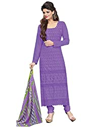 Isha Enterprise Women's Schiffli Dress Material(KFD372-1005_Purple)