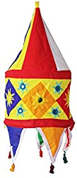 Sanskrite India Hanging Appliqued Handmade Foldable Cloth Lantern Light Diwali Home Dcor