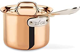 All-Clad CD202 C2 COPPER CLAD Sauce Pan with Lid with Bonded Copper Exterior Cookware, 2-Quart, Copper