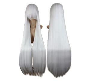 Cosplay peluca blanca 100cm 553 traje recto pelo