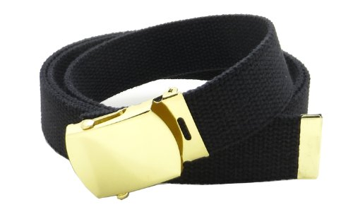 "Canvas Web Belt Military Style with Brass Buckle and Tip 54"" Long Many Colors (Black)"
