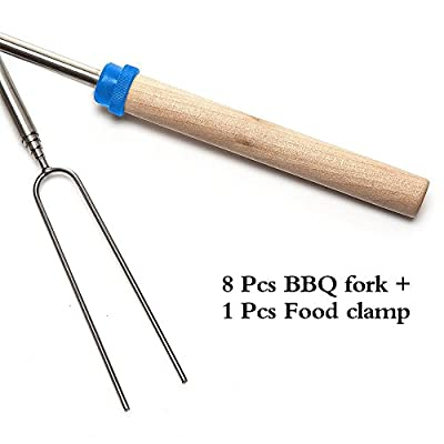 Travelmall Reusable Stainless Steel Roasting Sticks 8 Pack Telescoping Rotating Smores Skewers And Hot Dog Fork Kids Camping Campfire Fire Pit Accessories With Food Clamp And Carry Pouch 8 Pack from shenzhen