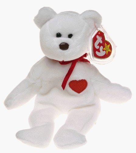 TY Beanie Babies Valentino Bear Stuffed Animal Plush Toy - 8 1/2 inches tall - White with Red Heart and Bow by Smartbuy - 1