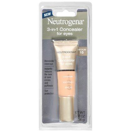 Neutrogena 3-in-1 Concealer For Eyes, SPF 20, Medium 15, 0.37 Ounces (10.4 g)