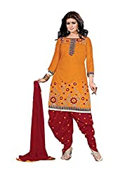 Divisha Fashions Mustard Yellow and Red Embroidered Dress Material with dupatta