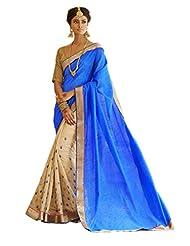 Status Blue & Cream Color Saree On Bhaglpuri Silk Fabric.