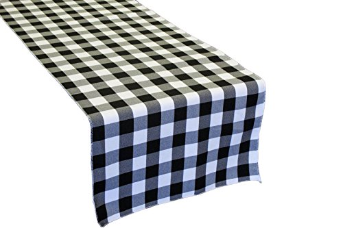 LA Linen Poly Checkered Table Runner, 14 by 108-Inch, Black/White (Black White Table compare prices)