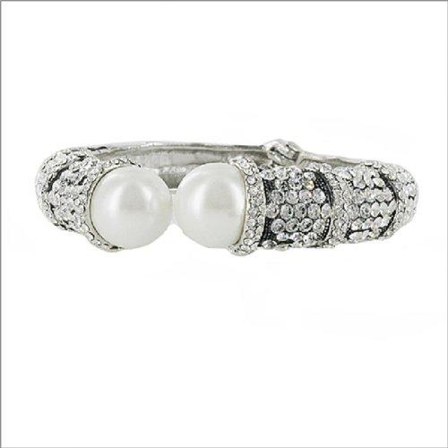 JOA Crystal Stone W Pearl Ends Hinged Bracelet #040619