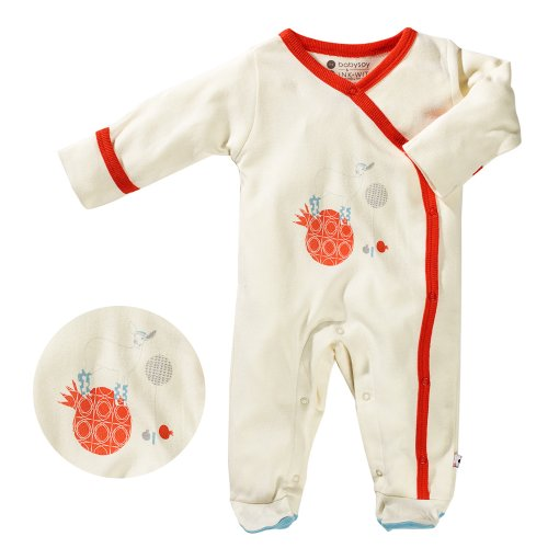 Baby Soy Illustrated Organic Footie, Deer (3-6M/Neutral Cream)