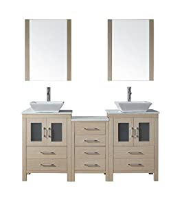 Virtu USA KD 70066 S LO Modern 66 Inch Double Sink Bathroom Vanity Set With P