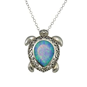 "Sterling Silver Synthetic Blue Opal Sea Turtle Pendant/Necklace 18 "" Cable October Birthstone"