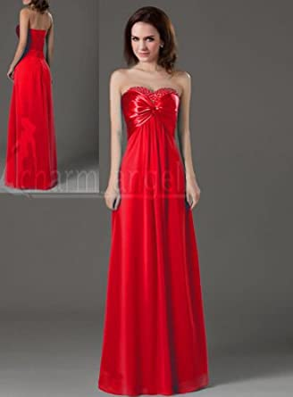 Promithi Women's Long Dresses Bridesmaid Evening Party Formal Prom Dress Gown (US 4/EUR 34, red)