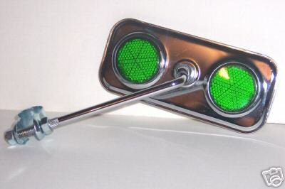 Rectangle Chrome Mirror with Green Reflector Bike Bicycle